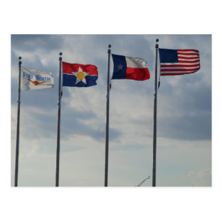 Flags of Fr. Woth, Dallas, Texas State and US Flag Postcard
