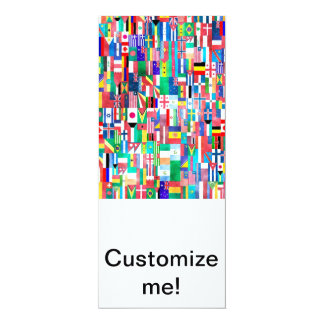 Flags of Nations Collage 10 Cm X 24 Cm Invitation Card