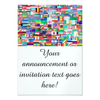 Flags of Nations Collage 13 Cm X 18 Cm Invitation Card