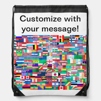 Flags of Nations Collage Drawstring Backpack