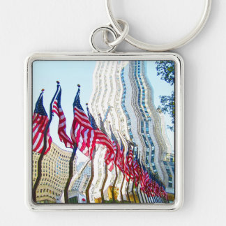 Flags of Rockefeller Center New York City Silver-Colored Square Key Ring