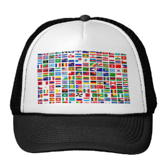 flags of the world against white cap