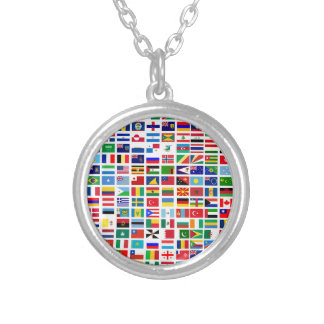 flags of the world against white silver plated necklace