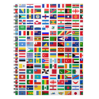 flags of the world against white spiral notebook