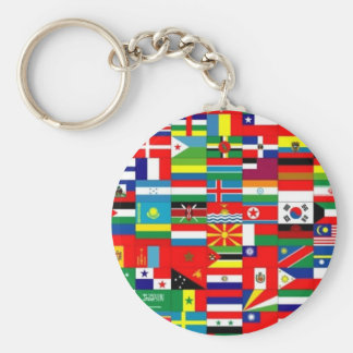 FLAGS OF THE WORLD - COLORFUL BEST SELLER! BASIC ROUND BUTTON KEY RING