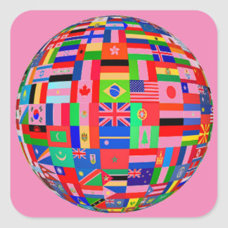 FLAGS OF THE WORLD - COLOURFUL BEST SELLER! SQUARE STICKER