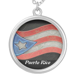 Flags-Puerto Rico Silver Plated Necklace