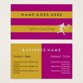 """""""Flags"""" Tennis Coaching Business Cards"""