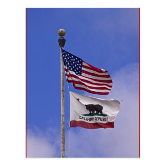 Flags: USA and state of California Postcard