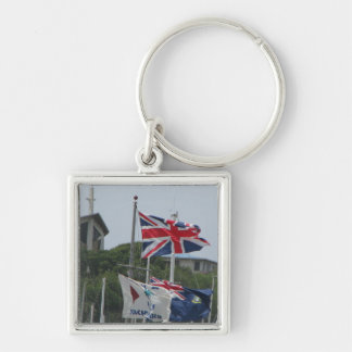 Flags @ Virgin Gorda Silver-Colored Square Key Ring