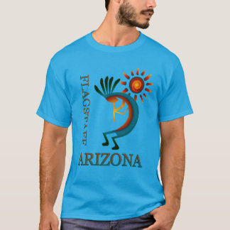 Flagstaff Arizona Kokopelli with Sun Teal T-Shirt