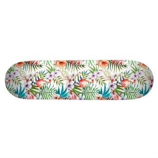 Flamboyant Flamingo Tropical nature garden pattern Skate Deck