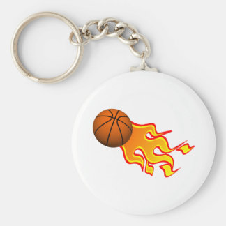 flame basketball basic round button key ring