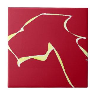 Flame dog art red tile