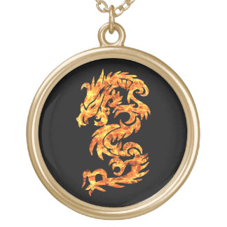 Flame Dragon Gold Plated Necklace