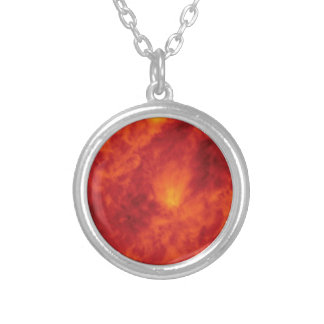 flame fire abyss silver plated necklace