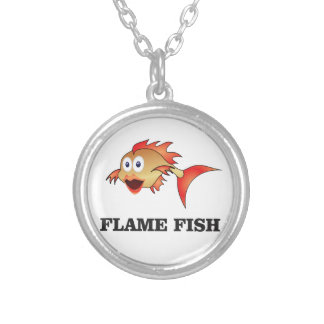 flame fish silver plated necklace