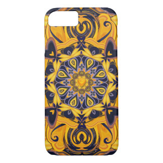 Flame Hearts Blue and Gold Phone Case