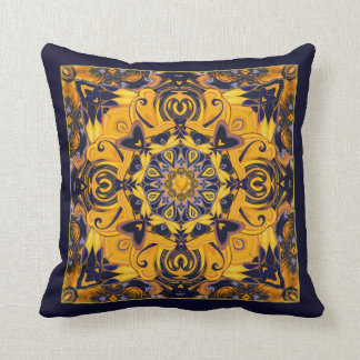 Flame Hearts in Blue and Gold Pillow