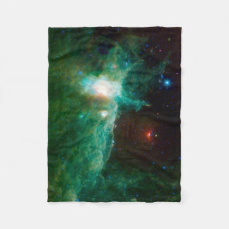 Flame Nebula NASA Space Universe Green Fleece Blanket