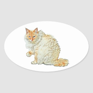 Flame point siamese cat 2 oval sticker