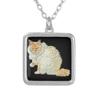 Flame point siamese cat 2 silver plated necklace