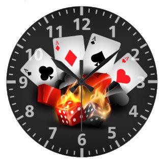 Flame Poker Casino Black Large Clock
