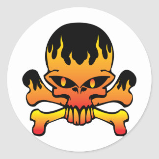 Flame skull round sticker