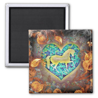 Flame Surrounded Horse Magnet