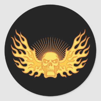 Flame-Wing-Skull Round Sticker