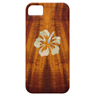 Flamed Koa with Hisbiscus Case For The iPhone 5