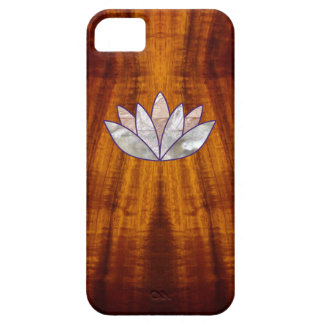 Flamed Koa Wood with Lotus Blossom Barely There iPhone 5 Case