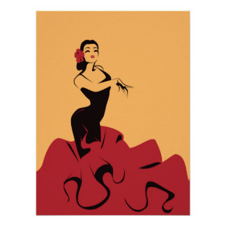 flamenco dancer in a spectacular pose poster