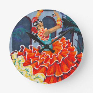 Flamenco Dancer in Colour Wall Clock