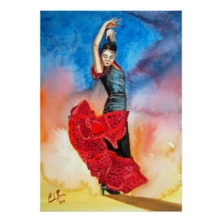 Flamenco dancer painting poster