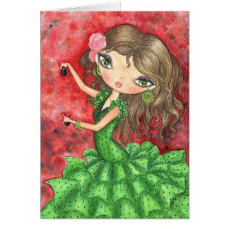 """Flamenco Dancer with Castanets"" Card"