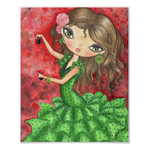 """Flamenco Dancer with Castanets"" Print"
