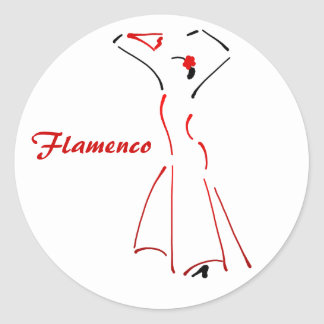 Flamenco Dancer with Customizable Slogan Classic Round Sticker