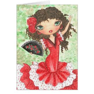 """Flamenco Dancer with Fan"" Card"