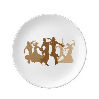 Flamenco Dancers Illustration Porcelain Plate