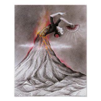 Flamenco dancing woman volcano surreal pencil art poster