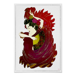 Flamenco - Watercolor on canvas print