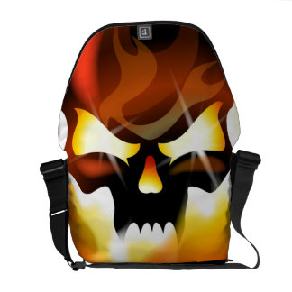 flames and skull commuter bags
