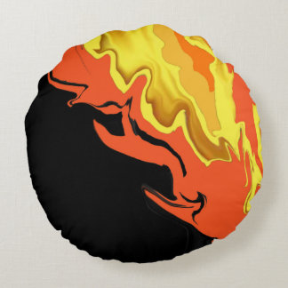 Flames at Night Round Cushion
