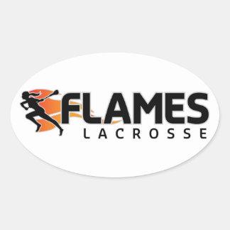 Flames Lacrosse Oval Sticker