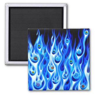Flamin' Eyeballs Square Magnet