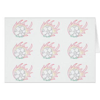 Flamin' Soccer ball notecard