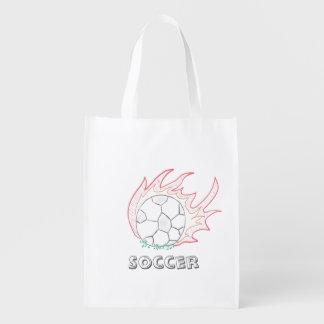 Flamin Soccer ball reusable bag Grocery Bag