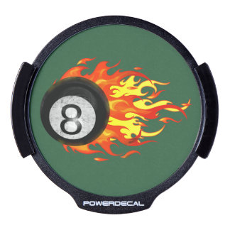 Flaming 8 Ball LED Car Window Decal
