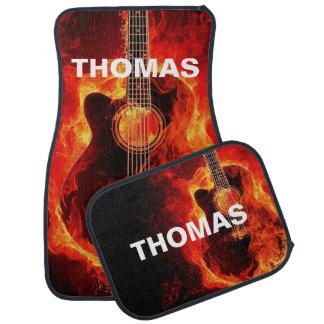 Flaming Acoustic Guitar Personalised Car Mat